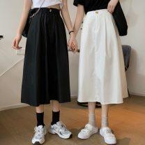skirt Summer 2021 Average size White, black Mid length dress commute High waist Umbrella skirt Solid color Type A 18-24 years old FWL3695 Korean version