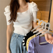 Wool knitwear Summer 2021 Average size White, purple, black, black and white stripe, light yellow Short sleeve singleton  Socket other 30% and below have cash less than that is registered in the accounts routine Self cultivation square neck other stripe Socket ysg7635 18-24 years old Other / other