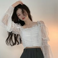 shirt Picture color Average size Summer 2021 other 30% and below Long sleeves Versatile Regular square neck other other Solid color 18-24 years old Self cultivation Other / other ZXJ4639 Lace