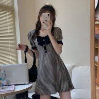 Dress Summer 2021 Dress S, M Short skirt singleton  Short sleeve other High waist lattice other other other Others 18-24 years old Type A Other / other bow ZXJ5072 30% and below other other