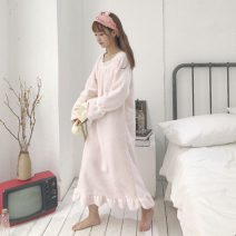 Nightdress Other / other Blue, pink, pink. White strawberry. Pink strawberry. Pink strawberry Average size (160 / 84A) Sweet Long sleeves pajamas longuette spring Solid color youth Crew neck other Lotus leaf edge Z1061
