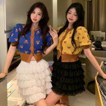 Fashion suit Summer 2021 Average size Blue top, yellow top, white skirt, black skirt 18-25 years old Other / other ZXJ6302 30% and below