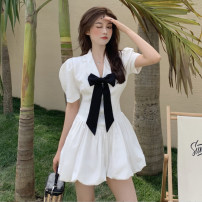 Dress Summer 2021 White, black S, M Middle-skirt singleton  Short sleeve commute Polo collar middle-waisted Single breasted other 18-24 years old Other / other lym15334 51% (inclusive) - 70% (inclusive)