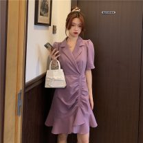 Dress Summer 2021 Purple, pink S,M,L Middle-skirt singleton  Short sleeve commute tailored collar High waist Solid color Single breasted Ruffle Skirt puff sleeve Others 18-24 years old Type A Other / other Korean version Lotus leaf edge lym14482 31% (inclusive) - 50% (inclusive) other other