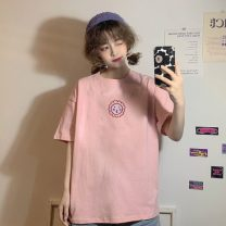 T-shirt White / smiley face sunflower, light pink / smiley face sunflower Average size Summer 2021 Short sleeve Crew neck easy Medium length commute cotton 96% and above 18-24 years old Simplicity Other / other lym12560