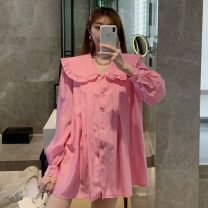 shirt Pink Baby collar dress 7703 , White baby collar dress 7703 Average size Summer 2021 other 31% (inclusive) - 50% (inclusive) Long sleeves commute Regular Doll Collar Single row multi button routine Solid color 18-24 years old Straight cylinder Other / other Korean version ysg8415 Lotus leaf edge