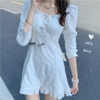 Dress Summer 2021 white S,M,L,XL Middle-skirt singleton  elbow sleeve Sweet High waist Solid color Socket routine Others 18-24 years old Type A Other / other 30% and below