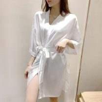 Pajamas / housewear set female Other / other S,M,L Picture color other Short sleeve sexy Leisure home summer Thin money V-neck Solid color Oblique lapel youth one-piece garment Mosaic decoration WL4739 Middle-skirt