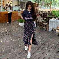 Fashion suit Summer 2021 Average size Navy Plaid Skirt, Navy T-shirt, black and white plaid skirt, pink T-shirt 18-25 years old Other / other ysg6935 30% and below