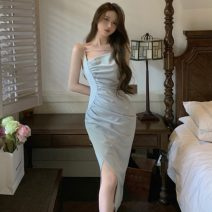 Dress Summer 2021 Gray blue S,M,L longuette singleton  commute square neck High waist Solid color zipper One pace skirt other camisole 18-24 years old Type A Other / other Retro fold ZXJ6363 30% and below other other