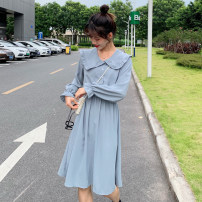 Dress Spring 2021 Apricot, light blue, black Average size (160 / 84A) Mid length dress singleton  Long sleeves commute Crew neck Elastic waist Solid color Socket Ruffle Skirt routine Others 18-24 years old Type A Other / other Korean version Z701 Chiffon