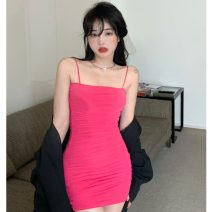 Dress Summer 2021 Red, black Average size longuette singleton  Sleeveless commute other High waist Solid color Socket A-line skirt other camisole 18-24 years old Type A Other / other Korean version ZXJ6285 30% and below knitting other