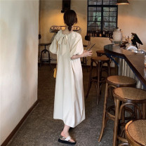 Dress Summer 2021 Apricot, purple Average size longuette singleton  Short sleeve commute High waist Solid color puff sleeve 18-24 years old Type A Other / other Korean version lym15258 30% and below