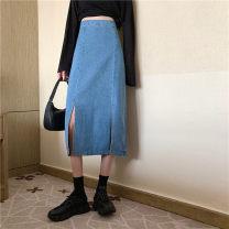 skirt Summer 2021 Short skirt High waist commute Denim skirt Solid color Type A 30% and below 18-24 years old lym1278# S,M,L,XL Light blue, black