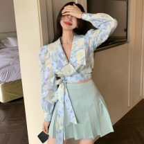 Fashion suit Summer 2021 S, M Printed shirt, mint skirt 18-25 years old Other / other ZXJ6196 30% and below