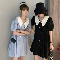 Dress Summer 2021 Light blue, white, black Average size Short skirt singleton  Short sleeve commute V-neck Loose waist Solid color Single breasted Big swing puff sleeve Others 18-24 years old Type A Other / other Korean version 30% and below other other