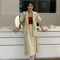Fashion suit Summer 2021 Average size Lotus pink suit, fog blue suit, milk apricot suit, lotus pink skirt, fog blue skirt, milk apricot skirt 18-25 years old Other / other ysg8521 30% and below