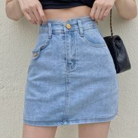 skirt Summer 2021 S,M,L,XL Blue, black Short skirt commute High waist Denim skirt Solid color Type A 18-24 years old ysg7477 30% and below Other / other Korean version