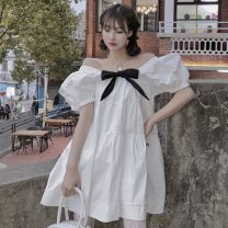 Dress Summer 2021 Picture color Average size Short skirt singleton  Short sleeve One word collar Loose waist Solid color Socket other puff sleeve Others 18-24 years old Type H Other / other bow ZXJ5259 30% and below other other