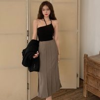 Fashion suit Summer 2021 S. M, l, average size Black sling , Khaki Skirt 18-25 years old Other / other ZXJ6231 30% and below