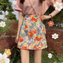 skirt Summer 2021 S,M,L Rainbow, ink white, ink blue Short skirt commute High waist A-line skirt Type A 18-24 years old lym15300 30% and below Other / other Korean version