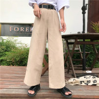 Casual pants Picture color S M Summer of 2018 Ninth pants Wide leg pants High waist commute 18-24 years old W1718 Korean version