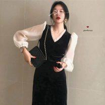 Dress Winter 2020 black M, L longuette singleton  Long sleeves commute V-neck High waist Solid color Socket One pace skirt routine Type H Splicing 2764# polyester fiber