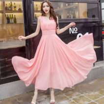 Dress Spring of 2018 S,M,L,XL,2XL,3XL,4XL longuette singleton  Sleeveless commute V-neck middle-waisted Solid color zipper Princess Dress Others Type A Korean version 51% (inclusive) - 70% (inclusive) Chiffon
