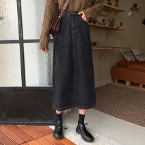 Women's large Spring 2020 Dark blue, dark blue, retro Large L, large XL, large XXL, large XXXL, large XXXXL, s, m, size uncertain, contact customer service skirt singleton  commute easy moderate Conjoined Solid color Korean version Denim Three dimensional cutting 18-24 years old Button Medium length