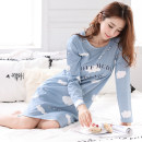 Pajama Top female Other / other L (95-115kg), 3XL (over 150kg), m (80-95kg), XL (115-135kg), XXL (135-155kg) Long sleeves Sweet youth Leisure home autumn Thin money Crew neck Cartoon animation Socket cotton Knitted cotton fabric printing