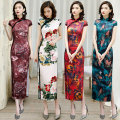 cheongsam Summer 2020 M L XL XXL 4XL 3XL Short sleeve long cheongsam ethnic style High slit Appointment Oblique lapel Decor 18-25 years old Piping Sincere love polyester fiber Polyester 100% Exclusive payment of tmall