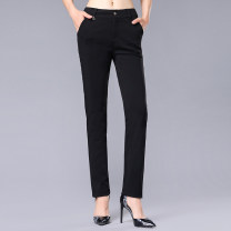 Casual pants black One, two, three, four, five, six, seven Spring 2021 Ninth pants Straight pants Natural waist Versatile routine 96% and above Girdard / brother-in-law nylon nylon