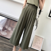 Casual pants XS,S,M,L Summer of 2019 trousers Wide leg pants High waist commute 25-29 years old Simplicity