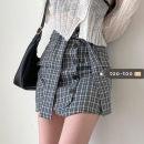 skirt Summer 2021 S, M Black check, coffee check Short skirt commute High waist skirt lattice Type A 18-24 years old 31% (inclusive) - 50% (inclusive) Strap, button Korean version