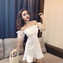 Dress Autumn of 2018 White, black S,M,L Short skirt singleton  Short sleeve Sweet One word collar High waist Solid color zipper Ruffle Skirt Breast wrapping 18-24 years old Type H Other Open back, gauze net