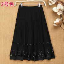 skirt Summer of 2018 XL [1'9-2'1 waist recommended], XXL [2'1-2'3 waist recommended], 3XL [2'3-2'5 waist recommended], 4XL [2'6-2'8 waist recommended] 1, 2, 3, 4, 5 Short skirt Versatile Natural waist Pleated skirt Solid color Type A 35-39 years old Other / other