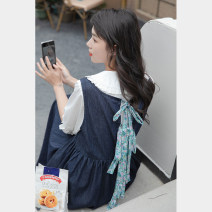 Dress Summer 2021 blue Average size Mid length dress singleton  Sleeveless commute other other routine Others 18-24 years old Type A Korean version 30% and below other other