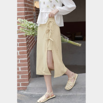 skirt Summer 2021 S,M,L,XL Black, yellow Mid length dress Sweet High waist A-line skirt Solid color Type A 18-24 years old 30% and below other other Frenulum