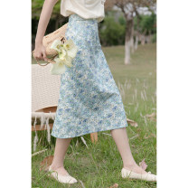 skirt Summer 2021 Average size blue longuette Sweet High waist A-line skirt Broken flowers Type A 18-24 years old 30% and below other other solar system