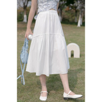 skirt Summer 2021 Average size white Mid length dress commute Natural waist A-line skirt Solid color Type A 18-24 years old 30% and below other cotton Korean version