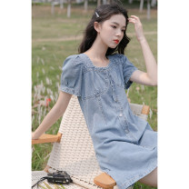 Dress Summer 2021 blue S,M,L Mid length dress singleton  Short sleeve commute square neck middle-waisted Solid color zipper other puff sleeve Others 18-24 years old Type A Korean version Button, zipper 30% and below Denim other