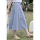 skirt Summer 2021 Average size blue Mid length dress commute Natural waist A-line skirt Solid color Type A 18-24 years old 30% and below other other Button Korean version