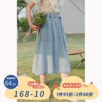 skirt Summer 2021 M,L,XL blue Mid length dress commute High waist A-line skirt other Type A 18-24 years old 30% and below other other pocket Korean version