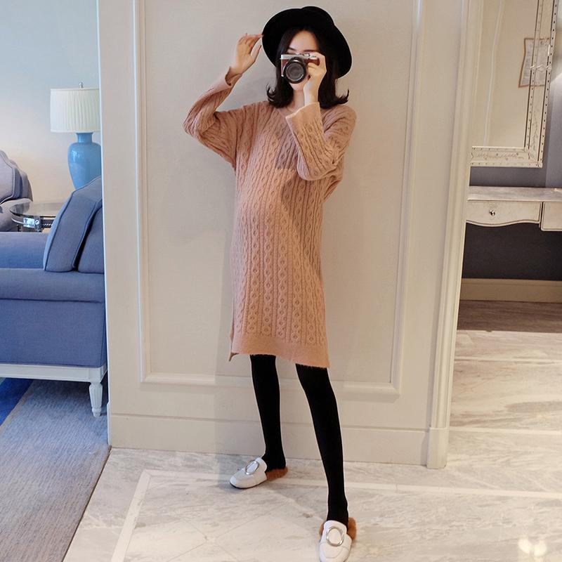 Dress Huanxin Pink Average size Korean version Long sleeves Medium length winter Crew neck Solid color XJ18056