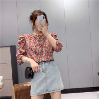 shirt Red flower M, L Spring 2021 other 30% and below elbow sleeve Sweet Regular Crew neck Socket puff sleeve Broken flowers 25-29 years old Straight cylinder Babaon blending