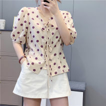 shirt M, L Summer 2020 cotton 30% and below Short sleeve Regular V-neck Single row multi button routine Dot 18-24 years old Self cultivation Babaon