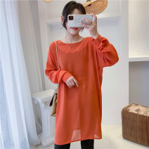 T-shirt Orange M Summer 2021 Long sleeves Crew neck Medium length routine commute cotton 30% and below 18-24 years old Solid color Babaon