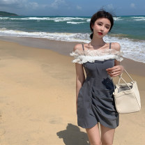 Dress Summer 2021 grey S M L Short skirt singleton  Sleeveless commute One word collar High waist Solid color Socket A-line skirt camisole 18-24 years old Type X Itrustar Korean version Pleated Auricularia auricula with lotus edge More than 95% polyester fiber Pure e-commerce (online only)