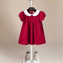 Dress female Bemidji / Bemidji Cotton 100% summer Korean version Short sleeve Solid color cotton A-line skirt Class A 12 months, 18 months, 2 years old, 3 years old, 4 years old, 5 years old, 6 years old, 7 years old, 8 years old Chinese Mainland Shandong Province Qingdao