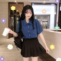 Women's large Summer of 2019 Blue shirt, black skirt L [recommended 100-120 kg], XL [recommended 120-140 kg], 2XL [recommended 140-160 kg], 3XL [recommended 160-180 kg], 4XL [recommended 180-200 kg], m [recommended 80-100 kg] shirt Two piece set commute thin Cardigan Short sleeve Korean version other